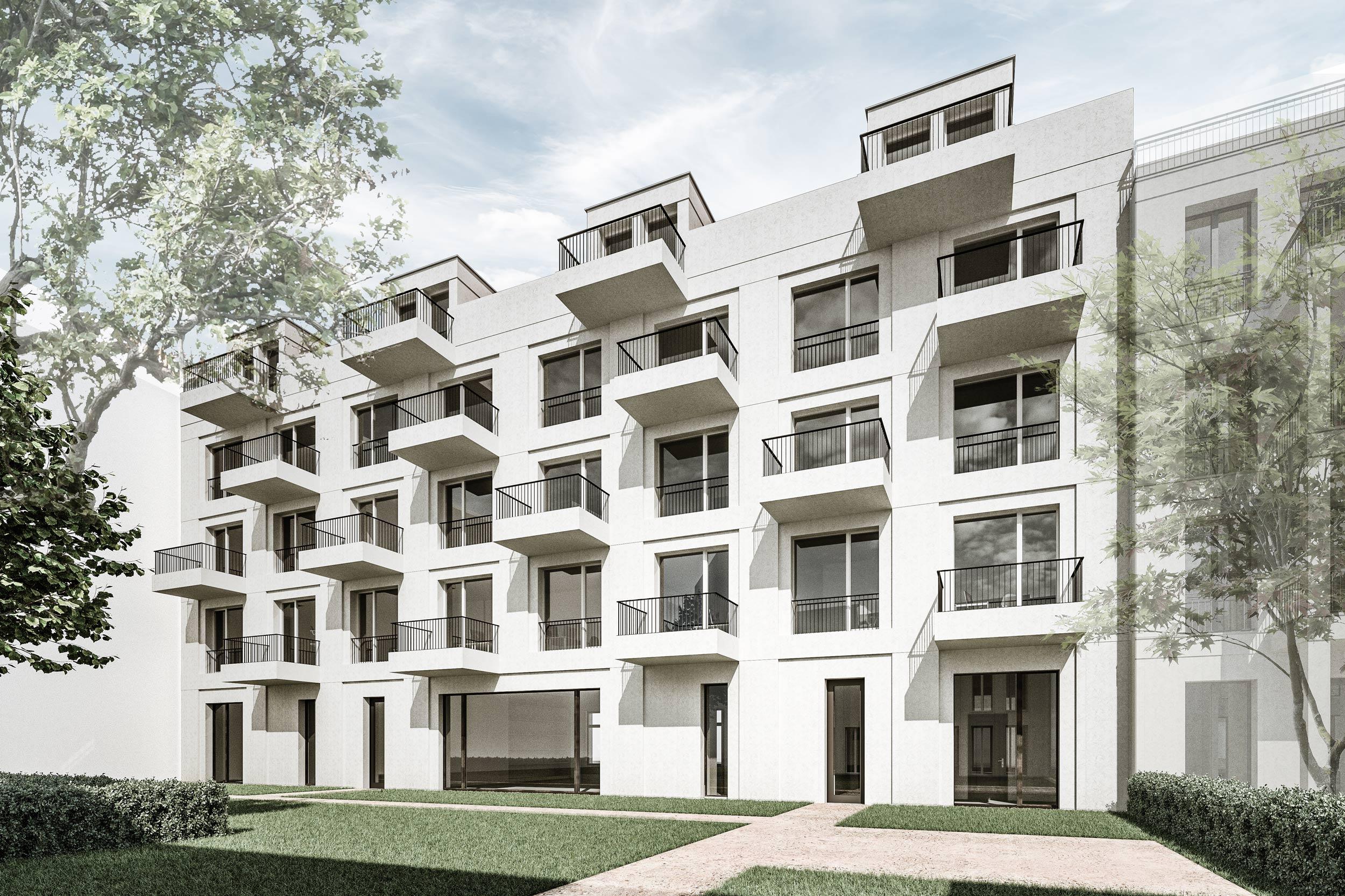 Neues Stadtpalais in der historischen Mitte Potsdam - Die Fensterflächen mit ihren breiten Fenstergewänden sind eine Interpretation der Straßenfassade.