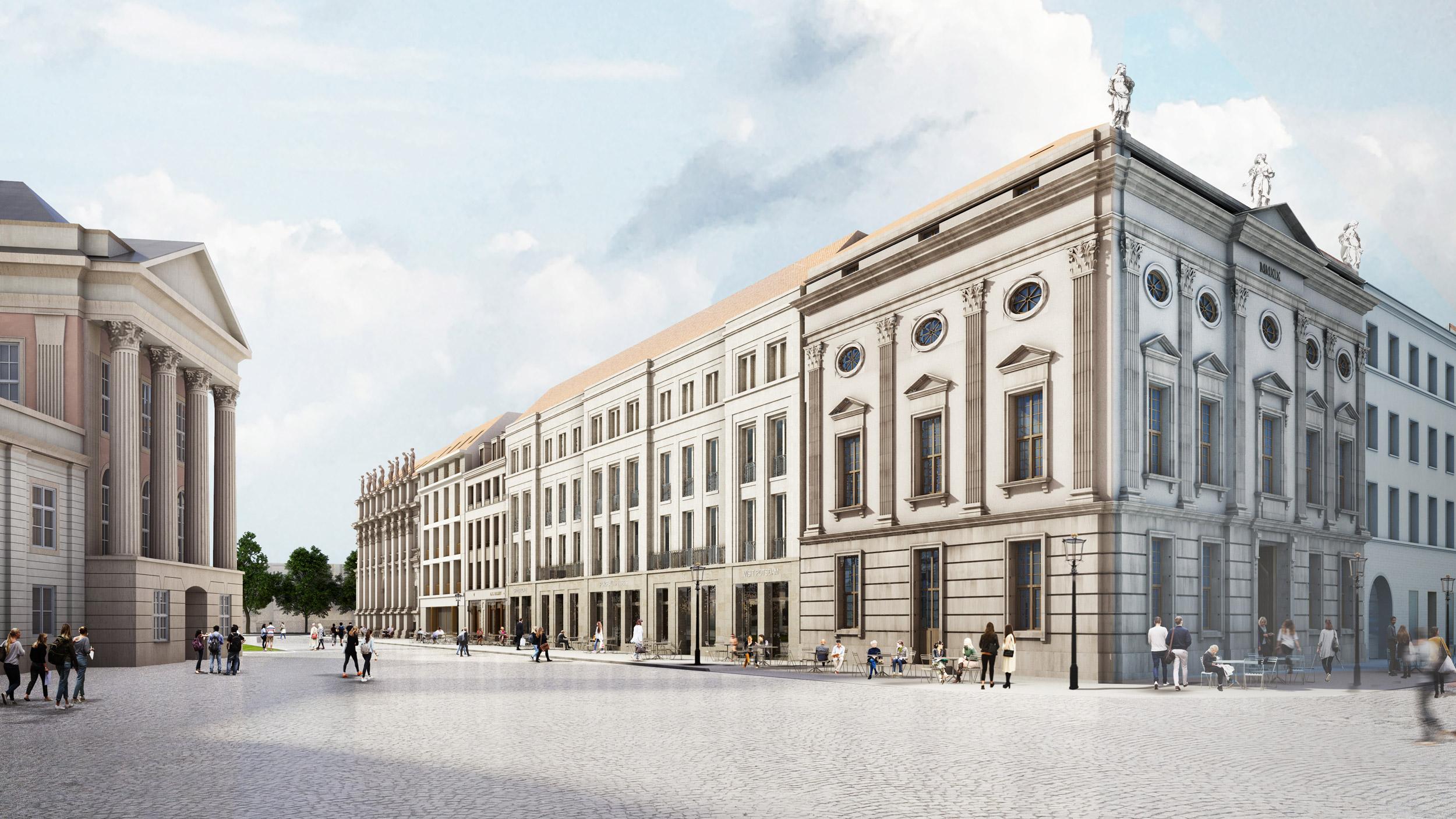 Neues Stadtpalais in der historischen Mitte Potsdam - Die Risalite der langgestreckten Fassade können als benachbarte Stadthäuser wahrgenommen werden.