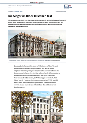 Pressemeldung über den Siegerentwurf von CG VOGEL ARCHITEKTEN für die Neue Mitte Potsdam