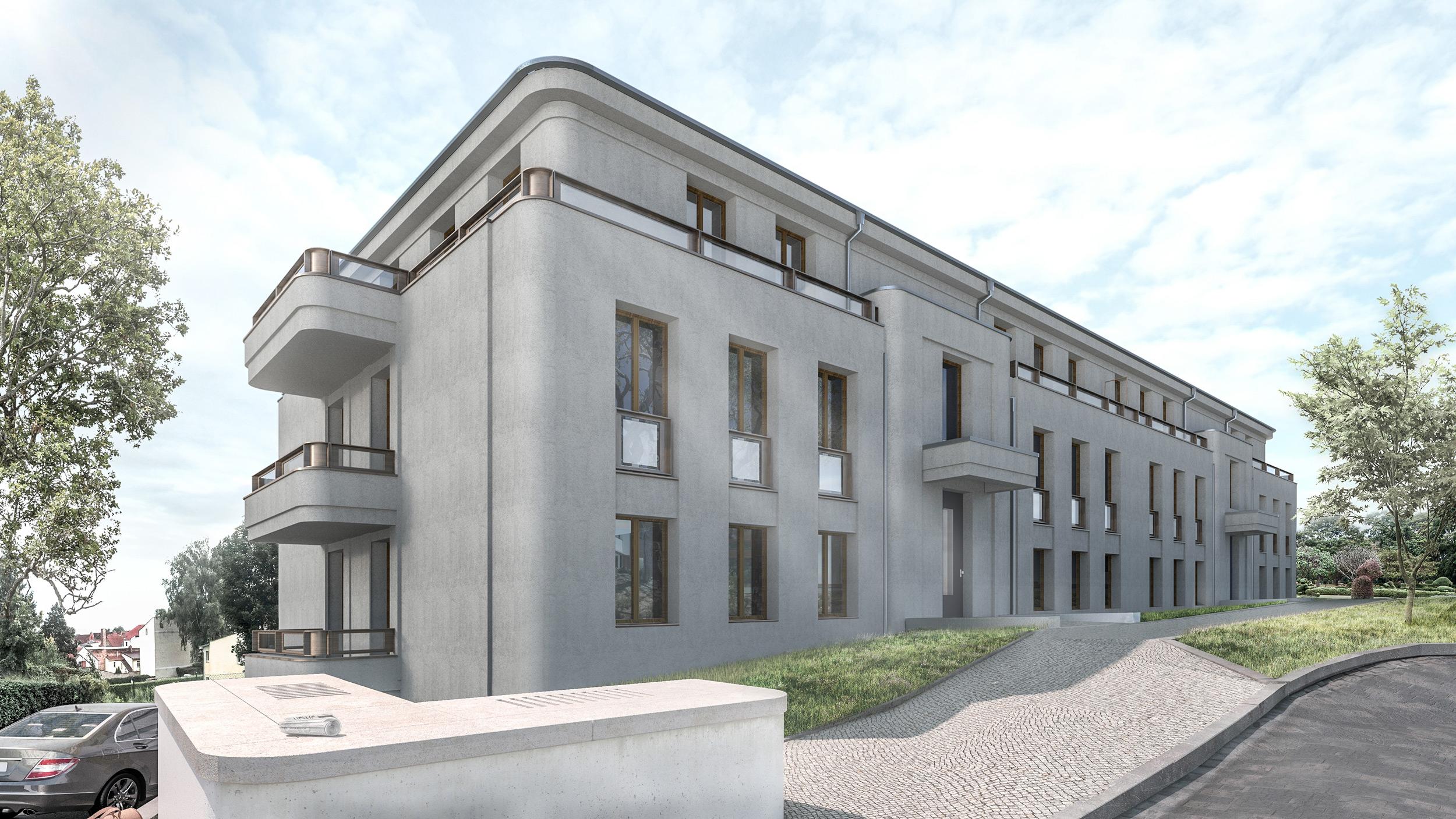 Eine Apartmentanlage mit modernen Wohnungen und Ausblick auf das Schloss