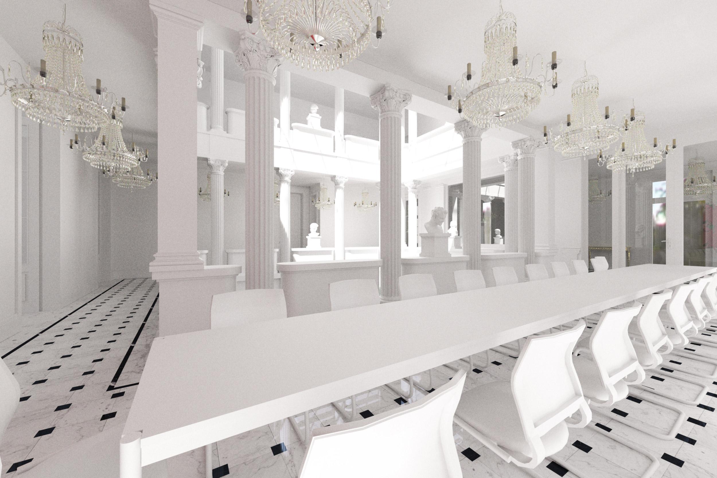 Von den Galerieebenen aus sind alle Nutzungen des Hauses zum Lichthof orientiert.