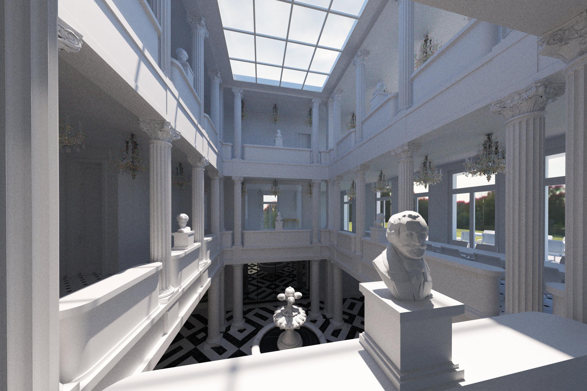 Loggien aus Säulen ummanteln über drei Geschosse den glasüberdeckten Innenhof.